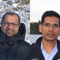 Vikash Kumar på vänstra sida (foto togs av Sunita Kushwah) och Jay Prakash Maurya på högre sida (foto togs av Santosh Govind Khokarale)