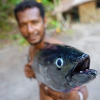 A man showing a fish, photo.