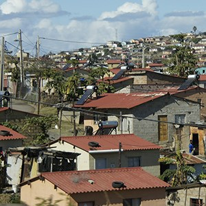 View over roof tops in a poor area in South Africa.