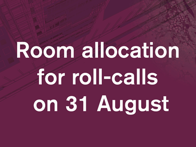 Room allocation for roll call on 31 August