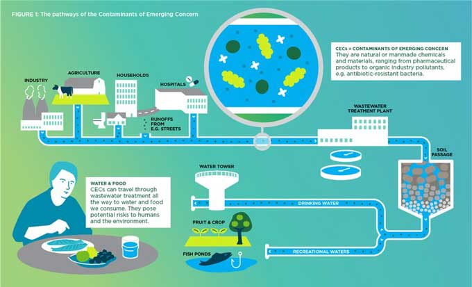 Illustration of the pathways of CECs in society. Image from www.waterjpi.eu.